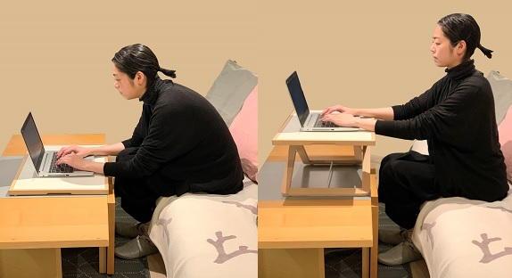 ローテーブルでのパソコン作業とスタンディングデスクを使ったときの姿勢の比較